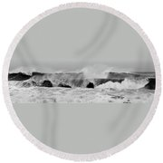 Two Waves Are Better Than One - Jersey Shore Round Beach Towel by Angie Tirado