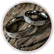 Two Wedding Rings With Celtic Design Round Beach Towel