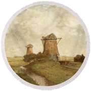 Two Windmills Between Abcoude And Ouderkerk On The Amstel Round Beach Towel