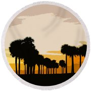 Two With The Palms Round Beach Towel