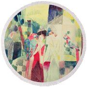 Two Women And A Man With Parrots Round Beach Towel