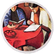 Two Women At The Table By August Macke Round Beach Towel