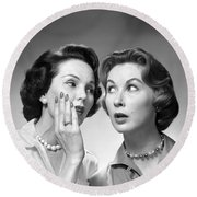 Two Women Gossiping, C.1950-60s Round Beach Towel