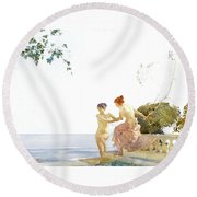 Two Women On The Steps At Noon  Round Beach Towel