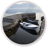 Two Wooden Boats In A Little Bay In The Morning Round Beach Towel