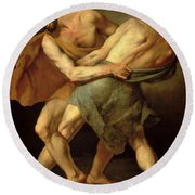 Two Wrestlers Round Beach Towel by Cesare Francazano