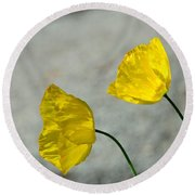 Two Yellow Blossoms Round Beach Towel