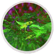 Two Yellow Frogs Round Beach Towel