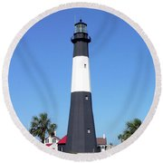 Tybee Island Light Round Beach Towel