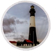 Tybee Island Lighthouse - Square Format Round Beach Towel