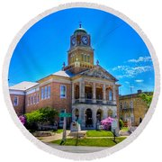 Tyler County Courthouse Round Beach Towel