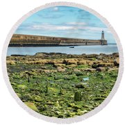 Tynemouth Pier Landscape In Color 2 Round Beach Towel
