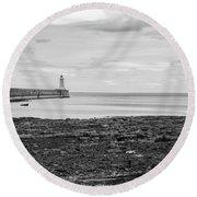 Tynemouth Pier Landscape In Monochrome Round Beach Towel