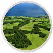 Typical Azores Islands Landscape Round Beach Towel