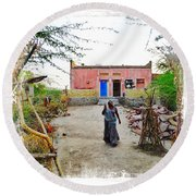 Typical House India Rajasthani Village 1c Round Beach Towel