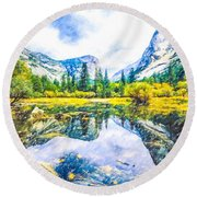 Typical View Of The Yosemite National Park Round Beach Towel