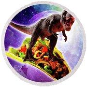 Tyrannosaurus Rex Dinosaur Riding Taco In Space Round Beach Towel
