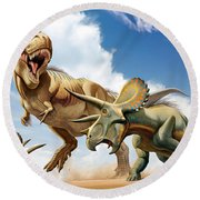 Tyrannosaurus Rex Fighting With Two Round Beach Towel by Mohamad Haghani