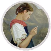 Tyrolean Girl Contemplating A Crucifix Round Beach Towel