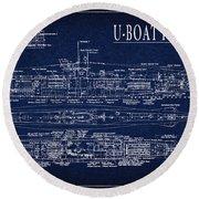 U-boat Submarine Plan Round Beach Towel