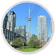 Toronto Towers From The Park Round Beach Towel