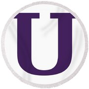 U In Purple Typewriter Style Round Beach Towel