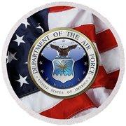 U. S.  Air Force  -  U S A F Emblem Over American Flag Round Beach Towel