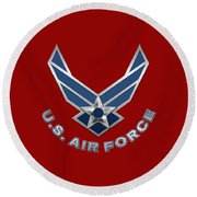 U. S. Air Force  -  U S A F Logo On Red Leather Round Beach Towel