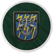 U. S.  Army 12th Special Forces Group - 12 S F G  Beret Flash Over Green Beret Felt Round Beach Towel