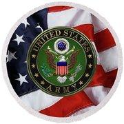 U. S. Army Emblem Over American Flag. Round Beach Towel