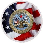 U. S. Army Seal Over American Flag. Round Beach Towel