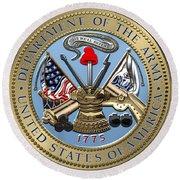U. S. Army Seal Over Blue Velvet Round Beach Towel