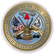 U. S. Army Seal Over Red Velvet Round Beach Towel