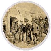 U. S. Cavalry Hunting Garza Men On The Rio Grande Round Beach Towel