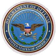 U. S. Department Of Defense - D O D Emblem Over Red Velvet Round Beach Towel