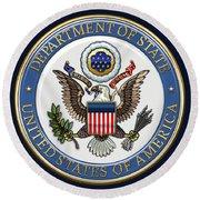 U. S. Department Of State - D O S Emblem Over Blue Velvet Round Beach Towel