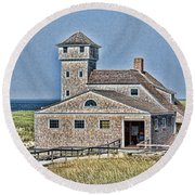 U S Lifesaving Station Round Beach Towel