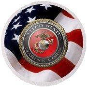 U S M C Emblem Over American Flag Round Beach Towel