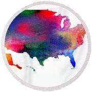 U S Map Color  Round Beach Towel