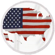 U S Map Stars N Stripes  Round Beach Towel