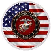 U. S.  Marine Corps - C O And Warrant Officer E G A Special Edition Over U. S.  Flag Round Beach Towel