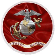 U. S.  Marine Corps - C O And Warrant Officer Eagle Globe And Anchor Over Corps Flag Round Beach Towel