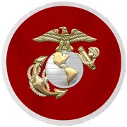 U. S. Marine Corps Eagle Globe And Anchor - E G A On Red Leather Round Beach Towel