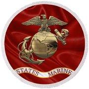 U. S.  Marine Corps - N C O Eagle Globe And Anchor Over Corps Flag Round Beach Towel