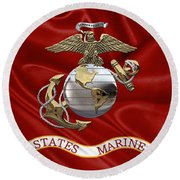 U. S.  Marine Corps - U S M C Eagle Globe And Anchor Over Corps Flag Round Beach Towel