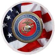 U. S. Marine Corps - U S M C Seal Over American Flag. Round Beach Towel
