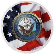 U. S.  Navy  -  U S N Emblem Over American Flag Round Beach Towel