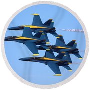 U S Navy Blue Angeles, Formation Flying Round Beach Towel