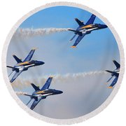 U S Navy Blue Angeles, Formation Flying, Smoke On Round Beach Towel