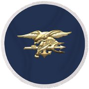 U. S. Navy S E A Ls Emblem On Blue Velvet Round Beach Towel